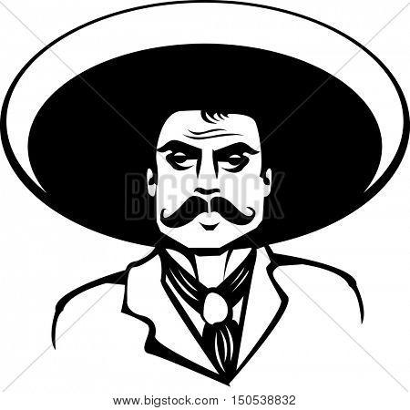 cartoon mexican man black and white logo