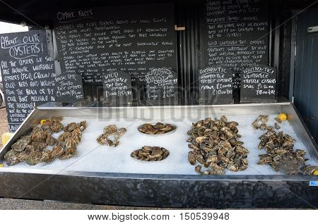 Whitstable United Kingdom - October 1 2016: Fresh Oysters for sale Whitstable