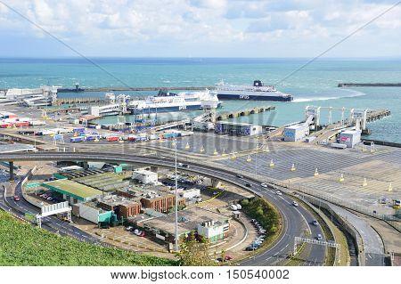 Dover United Kingdom - October 1 2016: Overlooking Dover Harbour