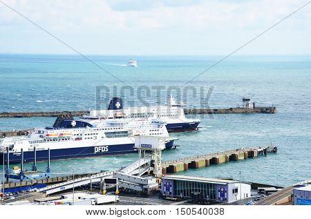 Dover United Kingdom - October 1 2016: Ferries in Dover Harbour