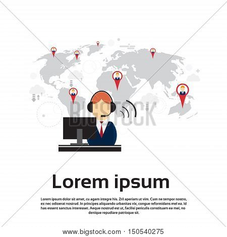 Business People Consulting Outsourcing Group Support Chat Communication Social Network Flat Vector Illustration