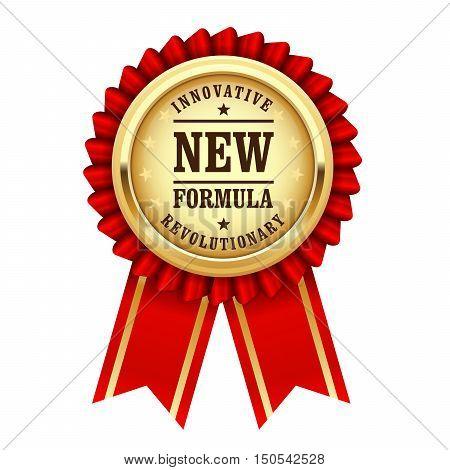 Golden award rosette with inscription revolutionary new innovative formula