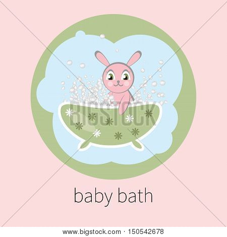 Baby bath. Vector little Bunny sitting in bathtub with soap bubbles isolated. Bathing kid. Logo for children's washing and hygienic means.