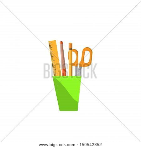 Selection of various individual school supplies on a white background