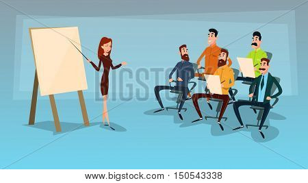 Business People Group Presentation, Businesspeople Team Training Conference Meeting Flat Vector Illustration