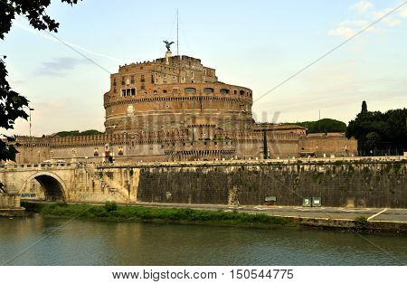 Rome Italy - September 12 2016 : The historical Castle of the Holy Angel was initially commissioned by the Roman Emperor Hadrian as a mausoleum for himself and his family.