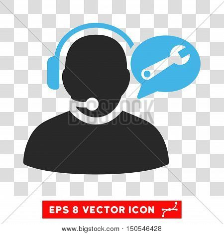 Vector Operator Service Message EPS vector pictogram. Illustration style is flat iconic bicolor blue and gray symbol on a transparent background.