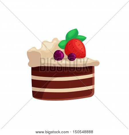 Chocolate cake with white icing and strawberry on top, cartoon vector illustration isolated on white background. Piece of chocolate cake with white cream and ripe strawberry, yummy looking dessert