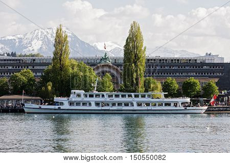 LUCERNE SWITZERLAND - MAY 04 2016: MS Gotthard vessel built in the 1960s it is moored at the ferry terminal which is located in front of the railway station