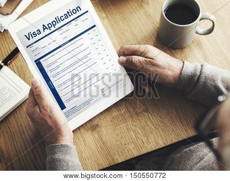 Visa Application Form Device Technology Concept