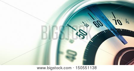 3D illustration of a bathroom scale close up on the dial with copyspace on the left and depth of field. Horizontal image can be used as a banner for a website header.