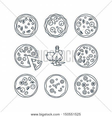 Pizza line icons. Different mono color pizza for pizzeria menu vector illustration