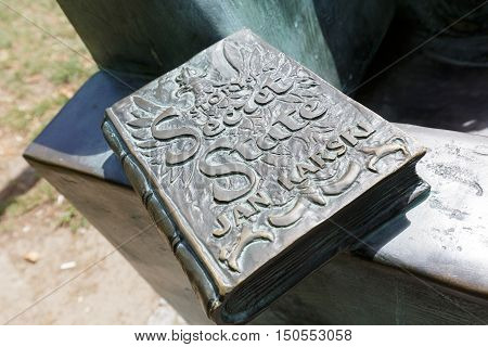 WARSAW POLAND - AUGUST 05 2016: Story of a Secret State by Jan Karski describes the memoirs of World War II and the Holocaust. it is a part of the statue that commemorates the author of this book