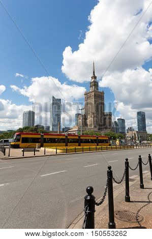 WARSAW POLAND - JUNE 11 2016: Tall famous building in downtown it is Palace of Culture and Science that is a home to many companies and public institutions