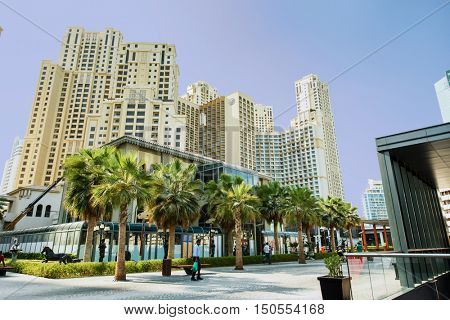 DUBAI, UAE - SEPTEMBER 06, 2016: View of Jumeirah Beach Residence (JBR). This popular area has now developed a further 300000 sq ft of shopping and beach area