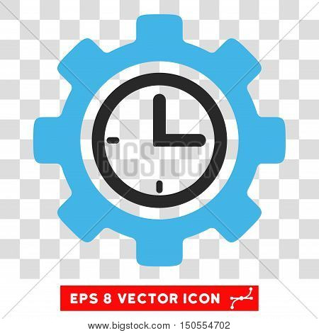 Vector Time Setup EPS vector pictograph. Illustration style is flat iconic bicolor blue and gray symbol on a transparent background.