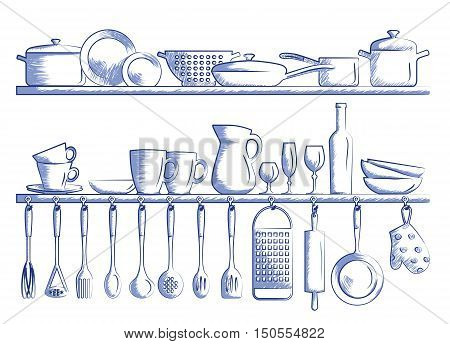 kitchen shelves and cooking utensils. Hand drawn cartoon doodle vector illustration.