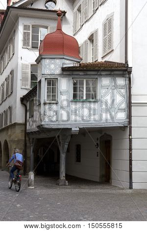 LUCERNE SWITZERLAND - MAY 11 2016: Half-timbered house extension. This building can be seen on the left side of the river Reuss in a shaded backstreet of the old town.