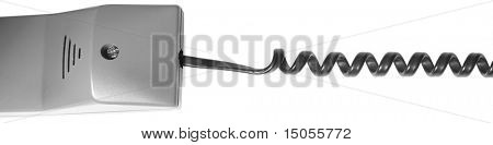 An isolated telephone handle on white
