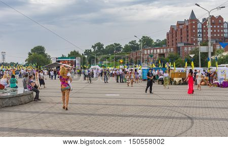 DNEPR UKRAINE - AUGUST 24, 2016:People walking on the Dnepr river embankment during Independence Day celebrations at August 24, 2016 in Dnepr, Ukraine