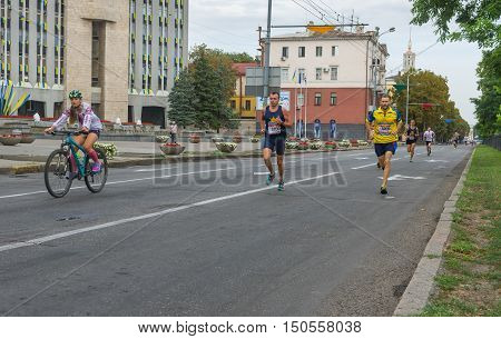 DNEPR UKRAINE - AUGUST 24, 2016: Men running in Vyshyvanka Run during Independence Day local activity in Dnepr Ukraine, at August 24, 2016
