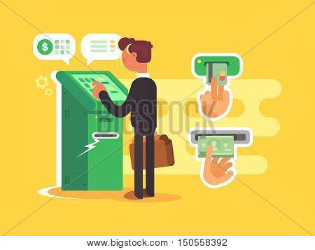 Man takes cash from ATM. Withdraw money from card. Vector illustration