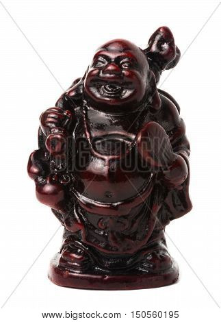 Netsuke happy fat man with a bag and a fan. Isolated. A miniature sculpture which was used as a button-like trinket in traditional Japanese clothes kimono kosode which was devoid of pockets.