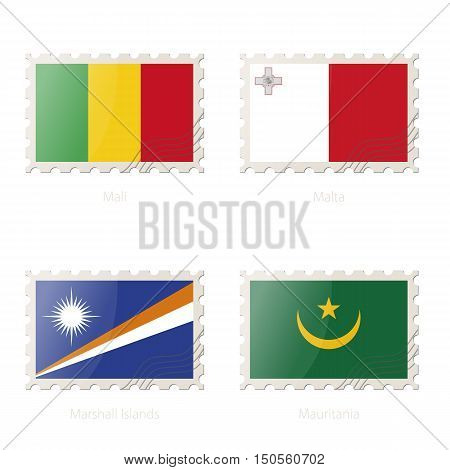 Postage Stamp With The Image Of Mali, Malta, Marshall Islands, Mauritania Flag.