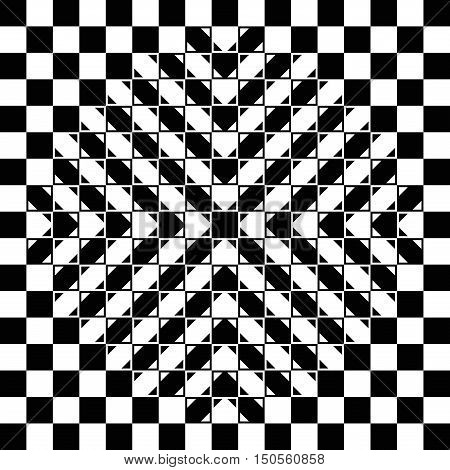 Bulging checkerboard illusion. The checkerboard is fully regular, each check is a regular square and the bulge is a geometrical-optical illusion. Geometrical illusion with 3D impression. Illustration.