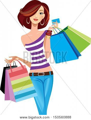 shopping fashion girl with bags, face girl