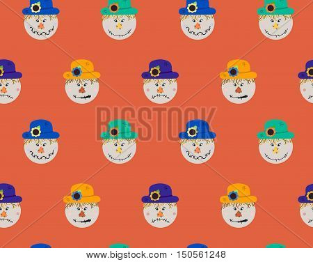 Pattern of scarecrow with different hats and smiles. Vector Halloween seamless pattern. Flat cartoon illustration of bogey.