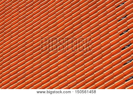 roof tile pattern on europian hause close up.