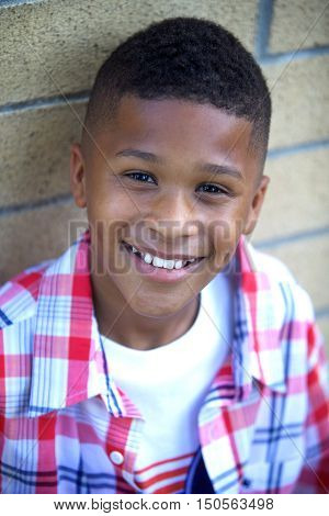 Portrait of Handsome African American Boy Outside