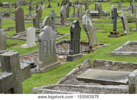 The Headstones and Graves of an Old Church Cemetery.