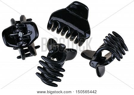 Black hair claw clips isolated on white background with clipping path