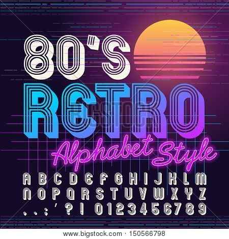 80's retro alphabet font. Retro Alphabet vector. Old style graphic. Eighties style graphic template