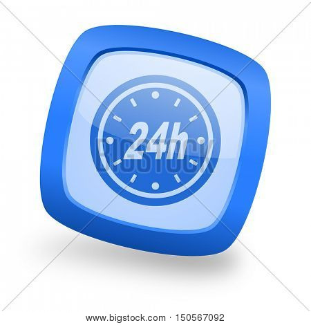 24h blue glossy web design icon