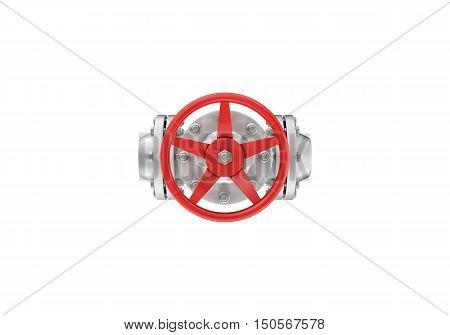 3d rendering top view metal valves isolated on white background. Water supply and sewerage system. Oil and Gas. Energy facilities. Housing and communal services.