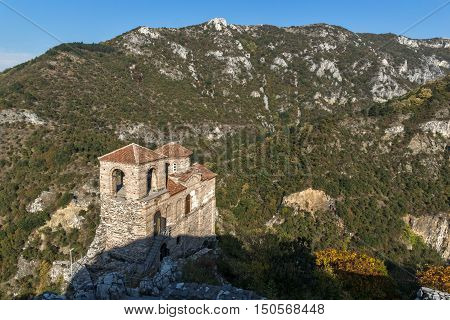 Amazing Panorama of Church of the Holy Mother of God in Asen's Fortress and Rhodopes mountain, Asenovgrad, Plovdiv Region, Bulgaria
