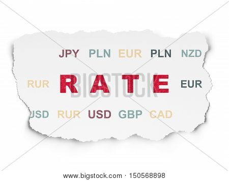 Currency concept: Painted red text Rate on Torn Paper background with  Currency