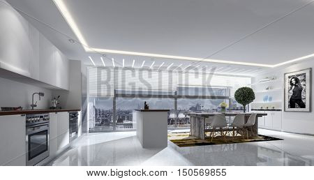 3D rendering of large kitchen and table with blinds on large windows. Striped track lighting in ceiling.
