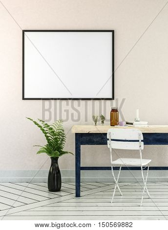 Home office 3D illustration with potted fern plant, wooden desk and little white folding chair near empty picture frame