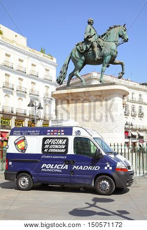 MADRID, SPAIN - September 06, 2016: Police car on Plaza del Sol in Madrid