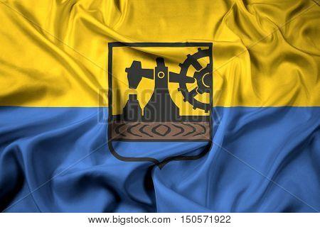 Waving Flag of Katowice Poland, with beautiful satin background. 3D illustration