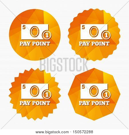 Cash and coin sign icon. Pay point symbol. For cash machines or ATM. Triangular low poly buttons with flat icon. Vector