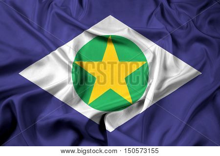 Waving Flag Of Mato Grosso State, Brazil