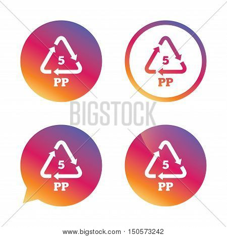 PP 5 icon. Polypropylene thermoplastic polymer sign. Recycling symbol. Gradient buttons with flat icon. Speech bubble sign. Vector
