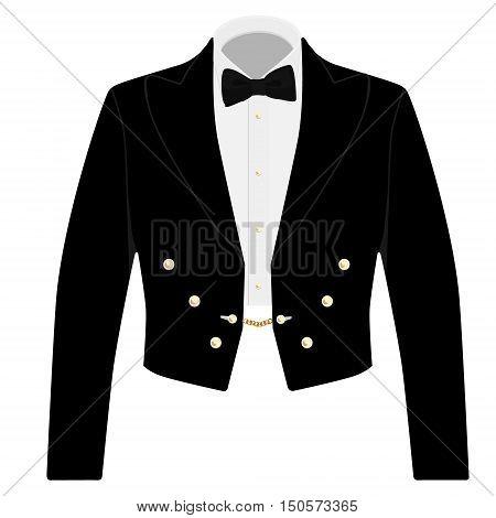 Gentleman black suit with bow tie for offical reception. Elegant formal businessman jacket