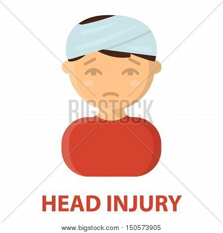 Head injury icon cartoon. Single sick icon from the big ill, disease collection.