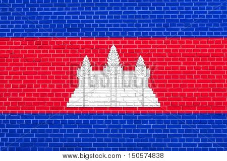 Cambodian national official flag. Patriotic symbol banner element background. Accurate dimensions. Correct size colors. Flag of Cambodia on brick wall texture background, 3d illustration